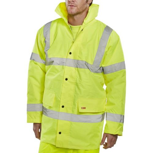 BSeen Hi Vis Yellow Constructor Traffic Jacket